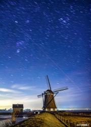 Molen het Noorden bij nacht, opname van 4 minuten / 4 minute exposure, mill the North op Texel