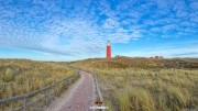 Panorama foto van het strand en de vuurtoren van Texel / Panoramic photo of Texel beach and lighthouse