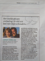 Artikel uit dagblad Trouw over de donorwet in Nederland / Article out of Dutch newspaper Trouw about the new donor law in Holland / sept 2016