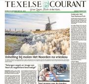 Voorpagina foto, Ijshelling bij molen het Noorden op Texel, mrt 2018 / Frontpage photo, Texelse Courant, mrt 2018