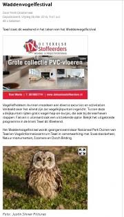Waddenvogel weekend aankondiging, Texelplaza 6-5-2016