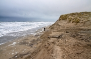 13-01-2017 Op het strand is veel zand en duin weggespoeld door het hoge water / 13-01-2017 At the beach is a lot of sand and dune washed away by the flood