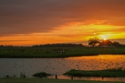 Zonsondergang bij natuurreservaat Ottersaat op Texel / Sunset above nature reservate Ottersaat on Texel
