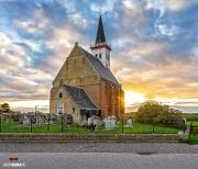Kerk van den Hoorn op Texel tijdens een mooie zonsondergang / Church of den Hoorn during a amazing sunset on Texel