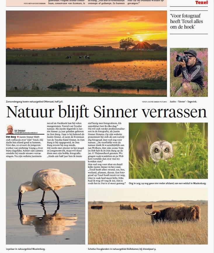 Justin Sinner Pictures in het NoordJHollands Dagblad